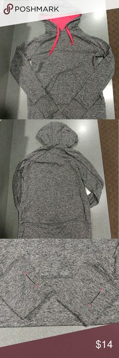MTA Sports Grey and Pink Hoodie MTA Sports Grey hoodie with hot pink hood lining and strings. Thumb holes reinforced at both ends. Very warm without being bulky and very comfortable. Size Medium, slightly fitted, for a looser fit it would be good for a small. Label peeled off but no other signs of wear. No rips/tears or stains. Tops Sweatshirts & Hoodies