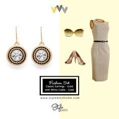 Classic Earrings with White Cable -both in Gold.    FB page: Cheri Ware- Style Dots Independent Boutique Partner.
