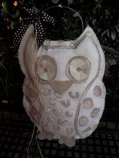 White Owl Burlap Door Hanger Door Decoration by nursejeanneg, $28.00