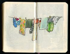 pen ink travel sketching this is simple and awesome I love clothes hanging on a line Watercolor Journal, Watercolor Sketch, Simple Watercolor, Watercolor Trees, Tattoo Watercolor, Watercolor Animals, Watercolor Background, Watercolor Landscape, Abstract Watercolor