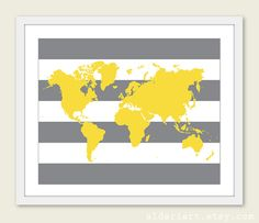 World map digital download neutral grey and white world map world map art print map wall art baby nursery wall art yellow and grey nursery wall art decor gumiabroncs Image collections