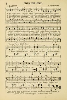 Living for Jesus.  Gospel Melodies and Evangelistic Hymns page 10