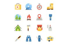camping and hiking flat icons by Kurokstas on @graphicsmag