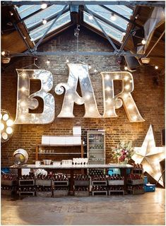 Large bar marquee bar sign. Would be awesome for a wedding!