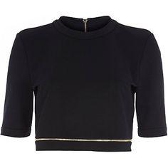 Black zip trim crop top £12.00