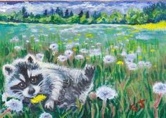 SOLD~~Acrylic ACEO..Teddy the blind raccoon and the field of Dandy~Lions ~
