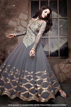 Wedding Wear Grey Georgette Anarkali Salwar Suit - 71311