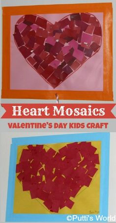 These Heart Mosaics are a lovely yet simple kids craft for Valentine's Day! Great to practice cutting with scissors too