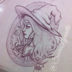 Art nouveau witch drawing in purple pencil by Sarra Lynnette