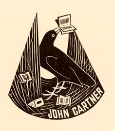 Eric Thake / bookplate for John Gartner (1914-1998), philatelist, book collector and printer, Australia,, 1943 .... depicts bower bird in nest with an assortment of books ... bower birds are well known for decorating their nests with collected objects