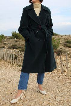 Image of Dark green wool coat