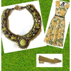 Bead Embroidered Collar, Yellow Turquoise Cabachon,Peridot, Onyx,... ($125) ❤ liked on Polyvore featuring jewelry, necklaces, beaded necklaces, onyx necklace, turquoise jewelry, seed bead necklace and beaded collar necklace
