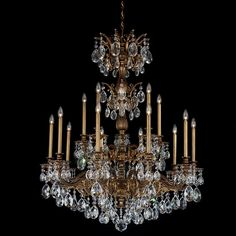 "Schonbek Milano Collection 39"" Wide Crystal Chandelier w/Swarovski Elements crystals 