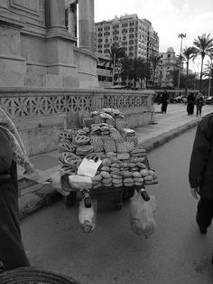 Selling bread on the street in Alexandria Egypt [shared]