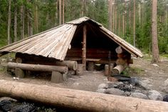 A Finnish laavu, Swedish gapskjul or slogbod, or Norwegian gapahuk is also a traditional, ethnic lean-to, small building intended for temporary residence during hiking or fishing trips in the wilderness.  Laavus are commonly found in Finnish Lapland near popular fishing rivers and in national parks. In principle, a laavu is a simplified version of a wilderness hut. Like wilderness huts, laavus are not kept warm, and may not be reserved beforehand. Unlike wilderness huts, laavus lack doors…