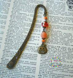 Orange beaded pumpkin bookmark