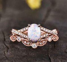 Opal Wedding Ring Set, Fire Opal Engagement Ring, Alexandrite Engagement Ring, Art Deco Wedding Rings, Dream Engagement Rings, Antique Engagement Rings, Engagement Ring Settings, Bridal Rings, Diamond Wedding Bands