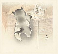Twee spelende hondjes, Ohara Koson, Matsuki Heikichi, 1900 - 1930