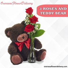 Send three red roses and teddy bear. The teddy bear which is delivered by the florist may vary from the one shown in the photo, depending on availability. #teddybear #roses #flowers #overseasflowers #gift #surprise #florist #floralgift Flower Delivery Service, Bear Valentines, Local Florist, Red Roses, Teddy Bear, Flowers, Gifts, Presents, Teddy Bears