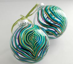 Peacock Feather Large Glass Ornament Hand-painted by MaryElizabethArts $25.00
