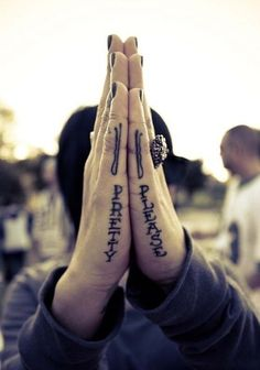 Hand Text Tattoo Pretty and Please for Women