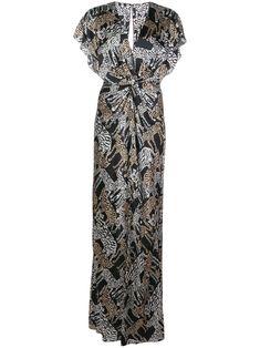 Prabal Gurung Safari Twist Front Gown In Black Prabal Gurung, Black Silk, World Of Fashion, Safari, Women Wear, Short Sleeves, V Neck, Gowns, Clothes For Women