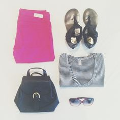OLD NAVY tee / AG JEANS color skinny / ECOTE sandals / COACH vintage backpack / CHROME HEARTS  sunglasses