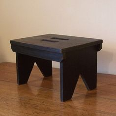Farmhouse Primitive Step Stool / Cut Out Handles / by Sawdusty, $45.00