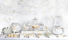 white butterflies dessert tables