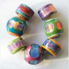 Crown Opal Bling 7 beads lampwork by Sarah Moran by zbeads