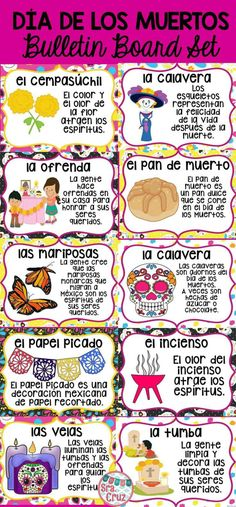 a de los Muertos Bulletin Board Set. Includes 12 pages and a bulletin board header. Spanish version and version with word and image only. Spanish Teacher, Spanish Classroom, Teaching Spanish, Preschool Spanish, Samhain, Spanish Word Wall, Day Of The Dead Party, Spanish Holidays, Hispanic Heritage Month