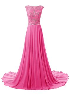 Kileyi Women's Long bateau Floral Rhinestone Beading Prom Formal Evening Dresses Hot Pink Size 10. Full-length;sleeveless;empire waist;zipper to back;sweep train. Rhinestone bodice;cascaded hemline;built-in padded bra;full lining. Please measure yourself according to the size chart in the image and submit to us for accurate fitting,DO NOT use Amazon's size chart.Custom Size Service available. It usually takes about 15 days to get the dress.Clothing care: wash by hand or dry clean. Suit…