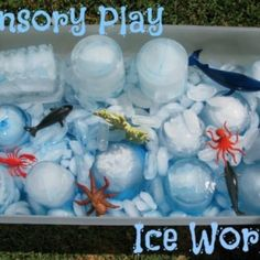 Ice World is a sensory activity for toddlers and pre-school children involving playing with ice, water and sea theme props. Providing open-ended learning opportunities for children to explore and discover the world around them. #icesensorytubideasforkids