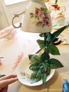 Hiya!   Have I got a fun tutorial for the teacup lovers today!   So I got lost in Pinterest and stumbled across some 'floating/flying' tea...