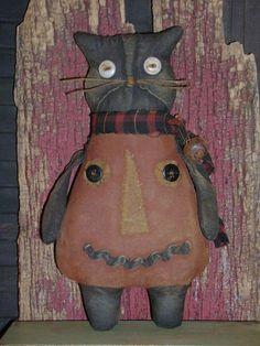"Primitive 9"" Grungy Halloween Cat ~ Pumpkin Costume Doll ~ Ro's Cluttered Attic #Primitive #RosClutteredAttic"