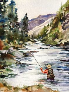 Fly Fishing in the Mountains watercolor giclee by baylesdesign