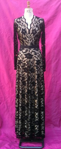 Baylis & Knight Black Nude FRENCH LACE Princess Kate Middleton Royal Long Sleeve Flared Skirt Low Cut MAXI Ball Gown Dress. £150.00, via Etsy.