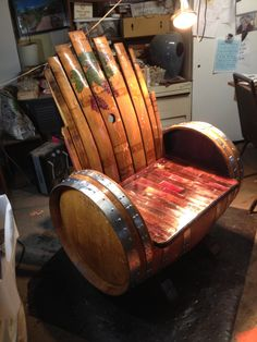 Wine barrel chair or bench. #homemaderusticfurniture