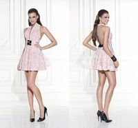 Pink Short Graduation Dresses Lace Bow 2015 New V-Neck Backless Vestido De Formatura Cute Dresses To Party Elegant