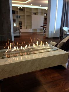 Denver e-Ribbon fire by Decoflame in Moscow apartament, bio-fireplace, биокамин