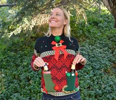 Beer holder Party Sweater, Ugly Christmas sweater, Medium, new years eve, beer, women, alcohol, party sweater, party by YourSassyGrandma on Etsy