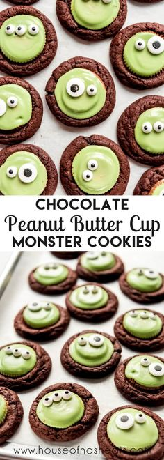 These Chocolate Peanut Butter Cup Monster Cookies are chewy and soft and oh-so-fun for an easy Halloween cookie that doesn't require much decorating skill to look adorable and creepy at the same time! They are perfect for anybody who loves the classic combo of peanut butter and chocolate! #chocolate #peanutbutter #cookies #Halloween #reeses #cups #frankenstein #monster #best #easy #homemade #soft #chewy