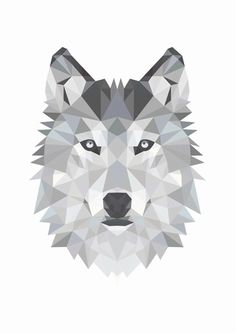 Designclaud poster - Geometrische Wolf in zwart grijs en wit