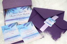 tropical wedding invitations | Tropical Breeze Destination Wedding Invitation by SDezigns