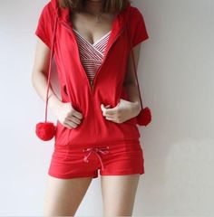 Lovely Parrel Ball With Zipper Hooded Jumpsuit Red $6.76