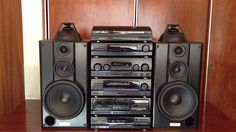 Typical stereo system of the and Here a Kenwood set. Home Theater Sound System, Home Theatre Sound, Hifi Stereo, Hifi Audio, Hi Fi System, Audio System, Kenwood Hifi, Radios, Audio Rack