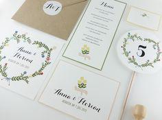 Blumenkranz anmutig Hochzeitspapeterie