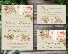 Printable Wedding Invitation Floral Wedding por tranquillina