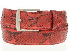 mens red genuine python snake skin belt exotic western cowboy rodeo size 28  #Handmade