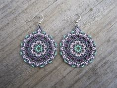 Stormy Sunset Huichol Lace Style - Seed Beaded Earrings - Hand Made in USA